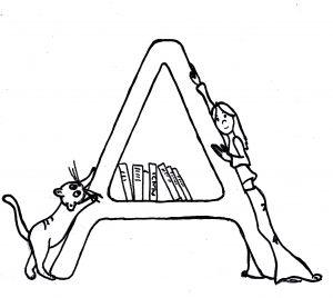 Skizze: Iara lehnt sich an den Buchstaben A