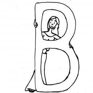 Skizze: Iara versteckt sich hinter dem Buchstaben B