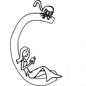 Skizze: Iara schmiegt sich an den Buchstaben C