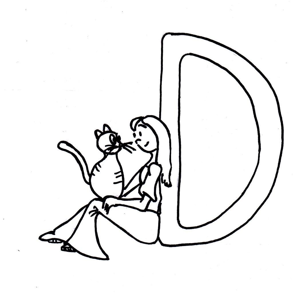 Skizze: Iara lehnt sich an den Buchstaben D
