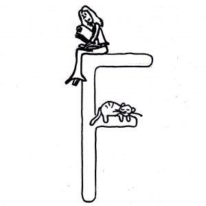 Skizze: Iara sitzt auf dem Buchstaben F