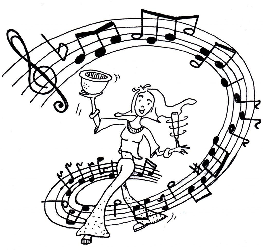 Tusche: Iara tanzt schwungvoll